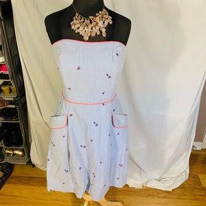 Lilly Pulitzer blue seersucker strapless dress. 8